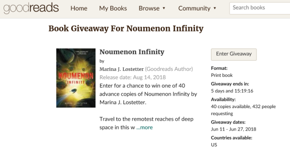 goodreads giveaway june 2018